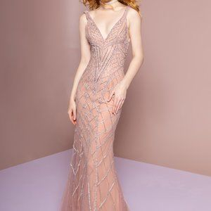 V-Neck Mermaid Shape Evening Dress GSGL2701